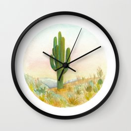 Baja Cactus Sunset Wall Clock