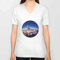 nashville V-neck T-shirts featuring One night in Nashville by GF Fine Art Photography