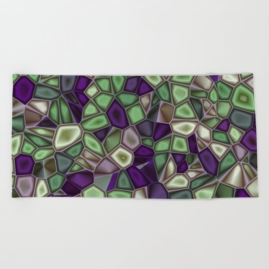 Fractal Gems 02 - Purples and Greens Beach Towel