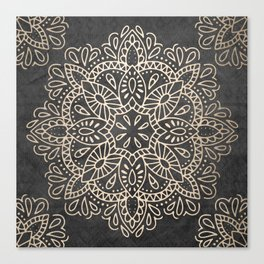 Mandala White Gold on Dark Gray Canvas Print