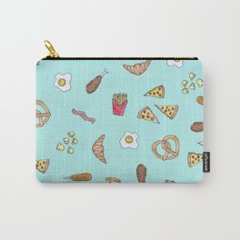 Foodie Watercolor Illustrations Pizza Fries Bacon and More Carry-All Pouch