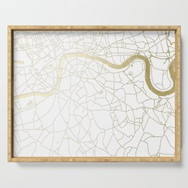 London White on Gold Street Map Serving Tray