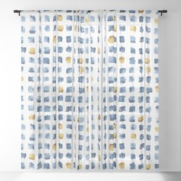Watercolor Indigo Gold Geometrical Squares Pattern Sheer Curtain