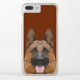 Low Poly German Shepherd Clear iPhone Case