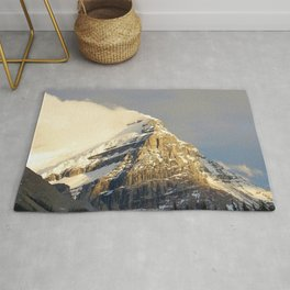 Clouds Reveal Snowy Peak in the Canadian Rockies Rug