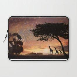 Purple Safari Sunset- giraffe family Laptop Sleeve