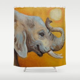 Good Luck Elephant Safari style landscape & elephant Animal portrait Yellow background Painting Shower Curtain