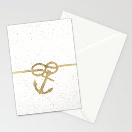Elegant faux gold white nautical knot anchor watercolor splatters Stationery Cards