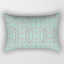 Art Deco Turquoise Background Red Copper Leaves Rectangular Pillow