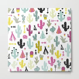 Cacti and teepee indian summer colorful boho cactus mix Metal Print