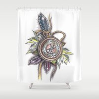compass Shower Curtains featuring Compass by byfgal