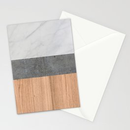 Carrara Marble, Concrete, and Teak Wood Abstract Stationery Cards