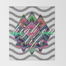 High on Life & Festival Vibes Tribal Pattern Throw Blanket