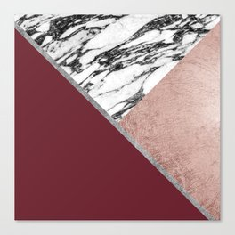 Marble Rose Gold Red Wine Triangle Geometric Canvas Print