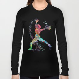 Baseball Softball Pitcher Watercolor Print Art Print Girl's Softball Painting Long Sleeve T-shirt