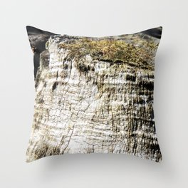 Mossy Tree Stump Throw Pillow