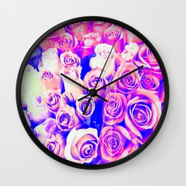 bouquet of roses texture pattern abstract in pink and purple Wall Clock