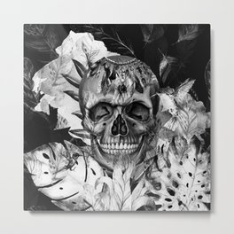Black White Boho Skull Metal Print