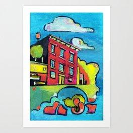 Magenta Brownstone Art Print