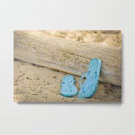 sandals against driftwood Metal Print
