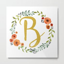 Floral Initial Wreath Monogram B Gold Metal Print