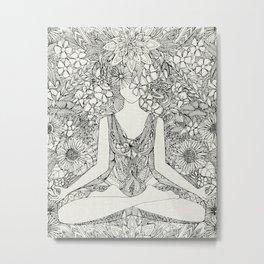 lotus garden vintage black Metal Print