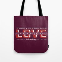 2ne1 Tote Bags featuring Love is the only way by Jonatas Melo