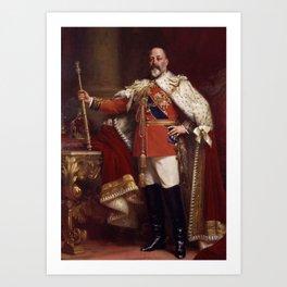 King Edward VII in coronation robes Art Print