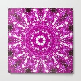 Pink Starburst Mandala Metal Print