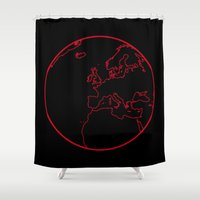 globe Shower Curtains featuring Black Globe by Kramcox