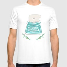 typewriter MEDIUM Mens Fitted Tee White