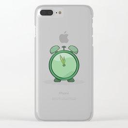 green alarm clock Clear iPhone Case