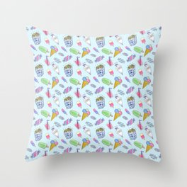 Cute candy and ice-cream pattern Throw Pillow