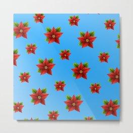 Red Flowers Pattern 2 Metal Print