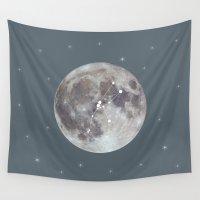 zodiac Wall Tapestries featuring zodiac moon by My Studio
