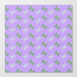 Modern artistic violet green butterfly illustration pattern Canvas Print