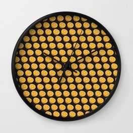 Orange Oranges Halves on Black Wall Clock