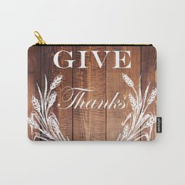 rustic western country barn wood farmhouse wheat wreath give thanks Carry-All Pouch