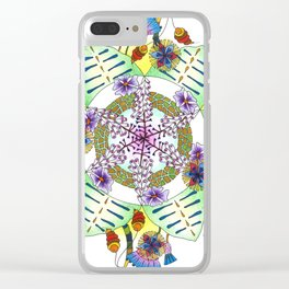 Foxgloves and Thistles Mandala Clear iPhone Case