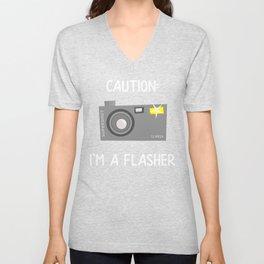 Photographer Caution I am a Flasher Funny Photography Gift Unisex V-Neck