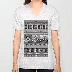 Monochrome Aztec inspired geometric pattern Unisex V-Neck