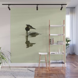 Photograph of a Grebe reflecting in the water Wall Mural