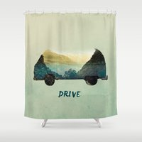 drive Shower Curtains featuring drive by yuvalaltman