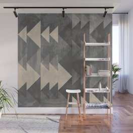 Geometric triangles abstract pattern - Gray tones & Beige Wall Mural