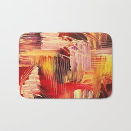 RHAPSODY IN MAGENTA- Beautiful BOLD Modern Abstract Wild Acrylic Painting Crimson Hot Pink Purple Bath Mat