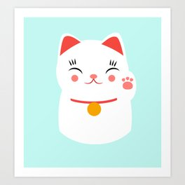 Lucky happy Japanese cat Art Print