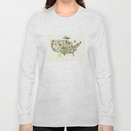 Vintage US State Flower Map (1911) Long Sleeve T-shirt
