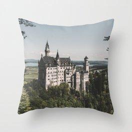 Neuschwanstein fairytale Castle - Landscape Photography Throw Pillow