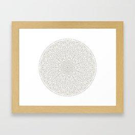 Gray Circle of Life Mandala on White Framed Art Print