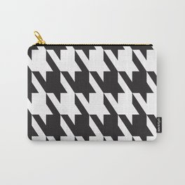 Pattern Play: Herringbone Black and White Carry-All Pouch